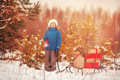 Netter kleiner Junge in Sankt-Hut trägt einen hölzernen Schlitten mit Geschenken im schneebedeckten Wald Stockbild