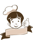 Netter kleiner Jungen-Chef Logo im guten Zeichen Stockfoto