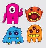 Netter kleiner Monsteraufkleber v1 Lizenzfreies Stockbild