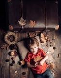 Netter kleines Kinderjunge werden zum Herbst fertig Kind, das im Herbst spielt Lächelnder kleiner Junge, der mit Blättern spielt  lizenzfreie stockfotografie