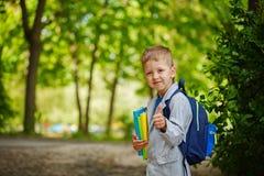 Netter Kleinkindjunge mit Büchern und Rucksack auf grünem Natur-BAC Lizenzfreies Stockbild