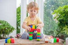 Netter Kleinkindjunge mit dem Spielen mit vielen buntem Plastik blockiert Innen Aktives Kind, das Spaß mit Gebäude hat und O scha Stockfotografie