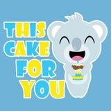 Netter Koala holt Vektorkarikatur des Geburtstagskleinen kuchens, Geburtstagspostkarte, Tapete und Grußkarte lizenzfreies stockfoto