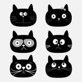 Netter Kopfsatz der schwarzen Katze Monsterzeichen in der Stadt Weißer Hintergrund Getrennt Flaches Design Lizenzfreie Stockfotos