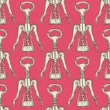 Netter Korkenzieher der Skizze in der Weinleseart Stockfoto