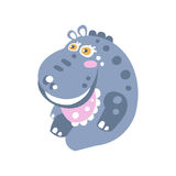 Netter lächelnder Karikatur Flusspferdcharakter, der auf der Bodenvektor Illustration sitzt Lizenzfreie Stockbilder