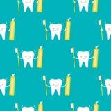 Netter lächelnder Zahncharakter mit nahtlosem Musterhintergrund der Bürste und der Zahnpasta stock abbildung