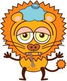 Netter Löwe mit einem Eisbeutel und einem Thermometer, die traurig und krank sich fühlt vektor abbildung
