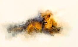 Netter Löwe- und graphivceffekt Weich unscharfer Aquarellhintergrund Stockfotos
