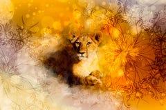 Netter Löwe und Verzierungen Weich unscharfer Aquarellhintergrund Stockfotografie