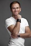 Netter liebenswerter Kerl auf weißem Hintergrund Stockbilder