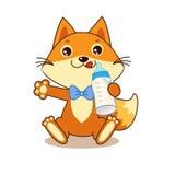 Netter lustiger Fox, der eine Flasche Milch hält Freundliches Zeichen Karikaturvektor Lizenzfreie Stockfotografie