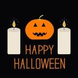 Netter lustiger Kürbis Zwei Kerze Halloween-Karte für Kinder Flaches Design Schwarzer Hintergrund Stockbild