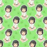 Netter Mädchencharakter sitzt in der Musterart vektor abbildung