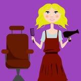 Netter Mädchenfriseur mit Haartrockner und Haarbürsteporträt Stockbild