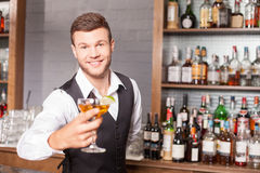 Netter männlicher Barmixer dient seinen Kunden Lizenzfreie Stockbilder