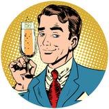 Netter Mann mit einem Glas Sekt des Champagners stock abbildung