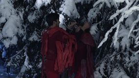 Netter Mann und die Frau, die in der roten Kleidung gekleidet wird, haben Spaß im Holz des verschneiten Winters stock video