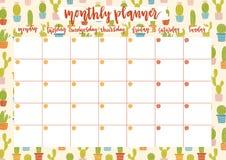 Netter Monatshobel für 2019-jähriges auf Kaktushintergrund Datums-Kalenderdesign des Druckes A4 bereites offenes lizenzfreie abbildung
