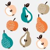 Netter nahtloser Hintergrund mit Äpfeln und Birnen, Illustration Lizenzfreie Stockfotografie