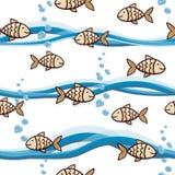 Netter nahtloser Hintergrund mit Goldfisch, Blasen und Wellen vektor abbildung