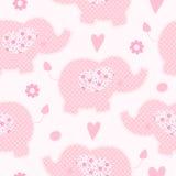 Netter nahtloser Vektorhintergrund des rosa Elefanten stock abbildung