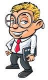 Netter nerdy Büroangestellter der Karikatur Stockfoto