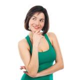 Netter oben schauender und lächelnder Brunette Lizenzfreie Stockbilder