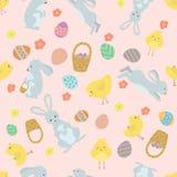 Netter Ostern-Hintergrund mit Kaninchen und Hühnern Stockfotografie