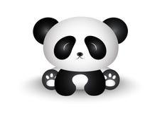 Netter Panda Cartoon Sitting mit seinem Körper in der Front Stockbilder