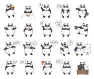 Netter Panda Character mit verschiedenen Gefühlen Lizenzfreie Stockbilder