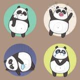 Netter Panda Character mit verschiedenen Gefühlen traurigkeit Lizenzfreie Stockbilder