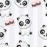 Netter Panda des nahtlosen Musters sagen Guten Tag vektor abbildung