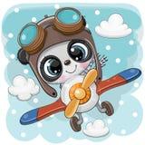 Netter Panda fliegt auf ein Flugzeug lizenzfreie abbildung
