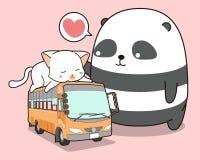 Netter Panda und Katze, die auf dem Bus ist lizenzfreie abbildung