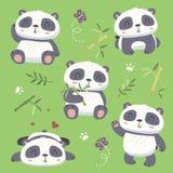 netter Pandasatz der Karikaturart Lizenzfreie Stockfotografie