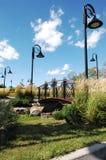 Netter Park in der Stadt. Stockbilder
