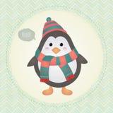 Netter Pinguin in strukturierter Felddesignillustration Lizenzfreie Stockfotografie