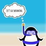Netter Pinguinaufkleber auf unscharfem Hintergrundmeer ENV 10 Lizenzfreie Stockbilder