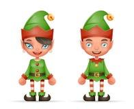 Netter realistischer Design-Vektor Karikatur-Elfen-Jungen-und Mädchen-Charakter-Weihnachts-Santa Teen Icons New Year-Feiertags-3d Lizenzfreie Stockfotos