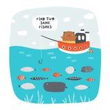 Netter Rebus, Test, Tätigkeit, Logiksuche nach Kindern Lustiges Puzzlespiel mit Bären, Boot, Meer, Fisch vektor abbildung