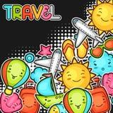 Netter Reisehintergrund mit kawaii Gekritzeln Sommerkollektion nette Zeichentrickfilm-Figuren Sonne, Flugzeug, Schiff Lizenzfreies Stockfoto