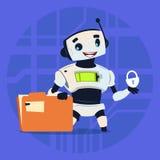 Netter Roboter schützen Daten-modernes künstliche Intelligenz-Technologie-Konzept vektor abbildung