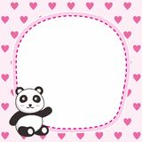 Netter rosa Rahmenhintergrund mit netter Pandaillustration lizenzfreie stockbilder