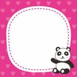 Netter rosa Rahmenhintergrund mit netter Pandaillustration stockfotos