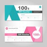 Netter rosa und grüner Geschenkgutscheinschablonenplan-Designsatz, Zertifikatrabatt-Kuponmuster für den Einkauf Stockbild