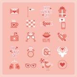 Netter rosa und weißer Valentinstag und romantische Ikonen eingestellt Stockfotos