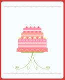 Netter rosafarbener Hochzeitskuchen Stockfotos