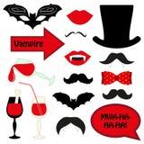 Netter Satz Halloween-Vampirspassfotoautomatstützen stock abbildung