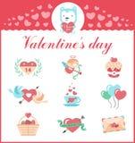 Netter Satz Ikonen für Valentinsgrußtag, heiratend Lizenzfreies Stockfoto
